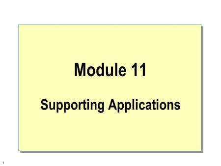 1 Module 11 Supporting Applications. 2  Overview Subsystems Overview Supporting Win32-based Applications Supporting MS-DOS-based and Win16-based Applications.