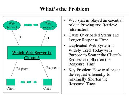 What's the Problem Web Server 1 Web Server N Web system played an essential role in Proving and Retrieve information. Cause Overloaded Status and Longer.