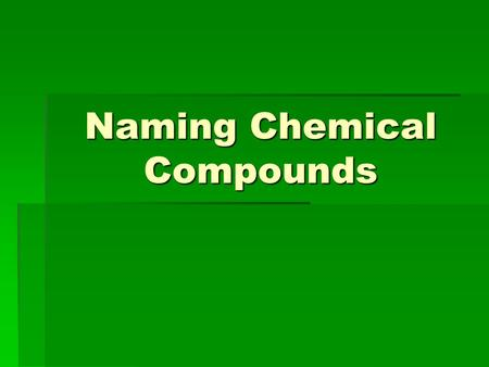 Naming Chemical Compounds. Beating The System  The system of naming that is used world- wide today is called the IUPAC system.  IUPAC is an acronym.