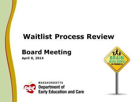Waitlist Process Review Board Meeting April 8, 2014.
