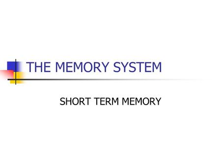THE MEMORY SYSTEM SHORT TERM MEMORY. Nobody's memory works with total accuracy. When you first hear or see something, it goes inside your brain and it.