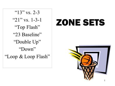 "ZONE SETS ""13"" vs. 2-3 ""21"" vs ""Top Flash"" ""23 Baseline"""