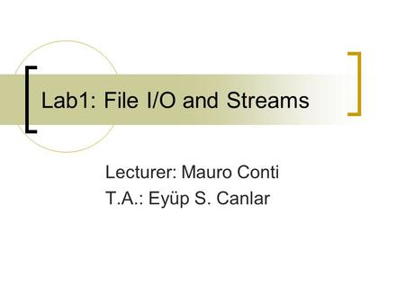 Lab1: File I/O and Streams Lecturer: Mauro Conti T.A.: Eyüp S. Canlar.