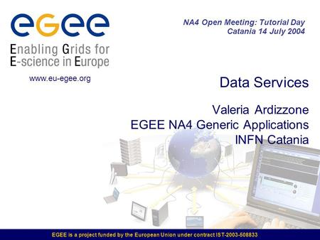 EGEE is a project funded by the European Union under contract IST-2003-508833 Data Services Valeria Ardizzone EGEE NA4 Generic Applications INFN Catania.
