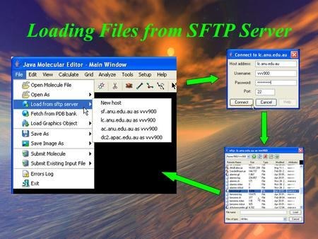"Loading Files from SFTP Server. Browsing Remote File System 1) Use ""Files of Type"" combobox to select file format 2) File Browser shows only files of."