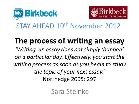 The process of writing an essay 'Writing an essay does not simply 'happen' on a particular day. Effectively, you start the writing process as soon as you.