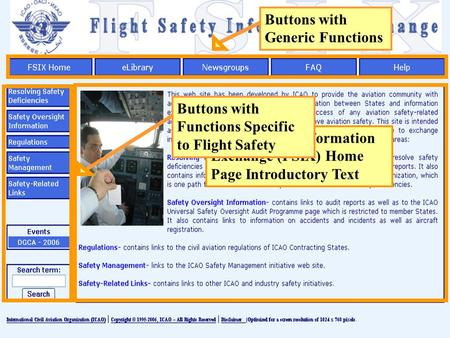 Buttons with Generic Functions Flight Safety Information Exchange (FSIX) Home Page Introductory Text Buttons with Functions Specific to Flight Safety.