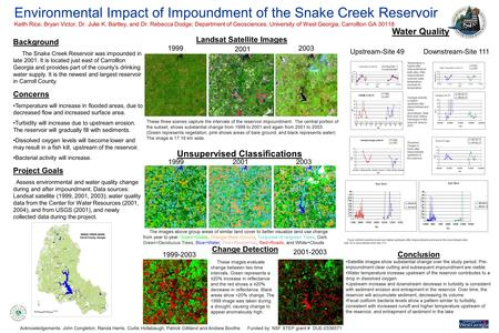 Environmental Impact of Impoundment of the Snake Creek Reservoir Keith Rice, Bryan Victor, Dr. Julie K. Bartley, and Dr. Rebecca Dodge; Department of Geosciences,