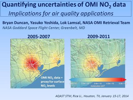 Quantifying uncertainties of OMI NO 2 data Implications for air quality applications Bryan Duncan, Yasuko Yoshida, Lok Lamsal, NASA OMI Retrieval Team.