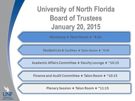 University of North Florida Board of Trustees January 20, 2015 Workshop  Talon Room  ~8:30 Student Life & Facilities  Talon Room  ~9:30 Academic Affairs.
