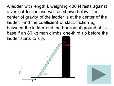 A ladder with length L weighing 400 N rests against a vertical frictionless wall as shown below. The center of gravity of the ladder is at the center of.