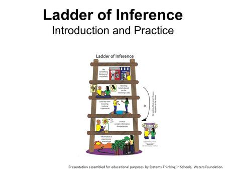 Ladder of Inference Introduction and Practice Presentation assembled for educational purposes by Systems Thinking in Schools, Waters Foundation.