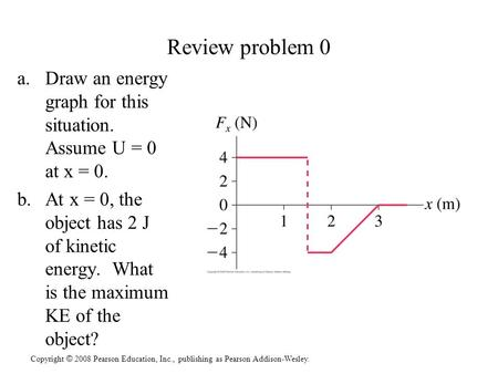 Copyright © 2008 Pearson Education, Inc., publishing as Pearson Addison-Wesley. Review problem 0 a.Draw an energy graph for this situation. Assume U =