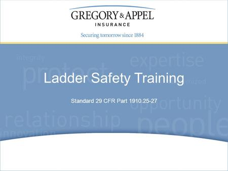 Standard 29 CFR Part 1910.25-27 Ladder Safety Training.