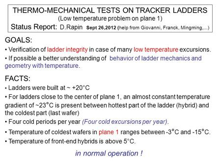 THERMO-MECHANICAL TESTS ON TRACKER LADDERS (Low temperature problem on plane 1) Status Report: D.Rapin Sept 26,2012 (help from Giovanni, Franck, Mingming,...)
