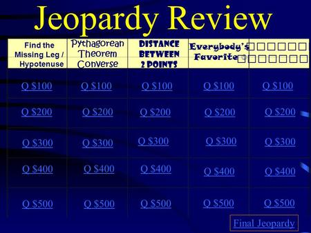 Jeopardy Review Find the Missing Leg / Hypotenuse Pythagorean Theorem Converse Distance Between 2 Points Everybody's Favorite Similar T riangles Q $100.