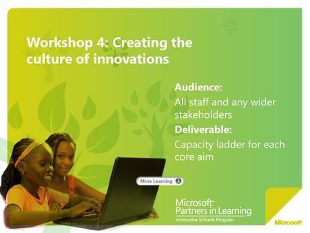 Workshop 4: Creating the culture of innovations