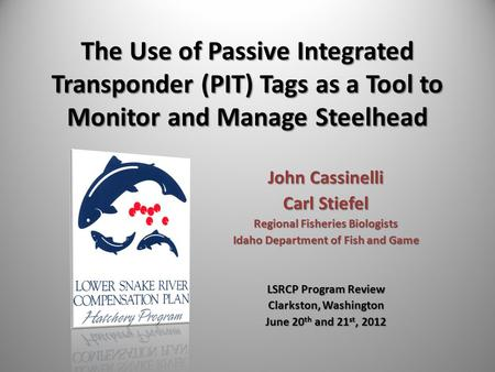 The Use of Passive Integrated Transponder (PIT) Tags as a Tool to Monitor and Manage Steelhead John Cassinelli Carl Stiefel Regional Fisheries Biologists.