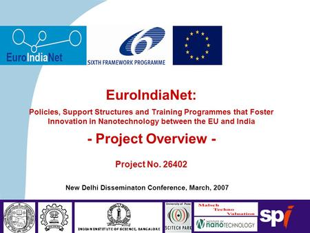 Sociedade Portuguesa de Inovação New Delhi Disseminaton Conference, March, 2007 EuroIndiaNet: Policies, Support Structures and Training Programmes that.
