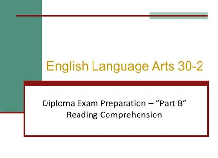 English Language Arts 30-2