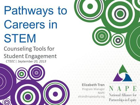 © NAPE 2013 Pathways to Careers in STEM CTEEC | September 20, 2013 Counseling Tools for Student Engagement Elizabeth Tran Program Manager NAPE