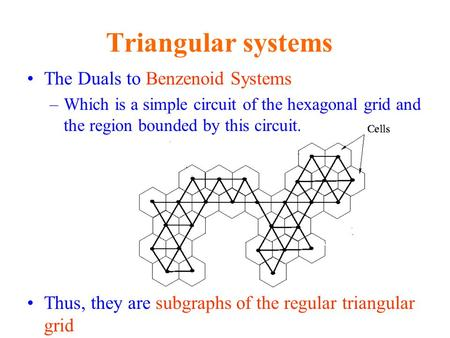 The Duals to Benzenoid Systems –Which is a simple circuit of the hexagonal grid and the region bounded by this circuit. Thus, they are subgraphs of the.