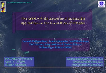 The neBEM Field Solver for MPGDs The neBEM Field Solver and its possible application in the simulation of MPGDs SupratikMukhopadhyay, NayanaMajumdar, SudebBhattacharya.
