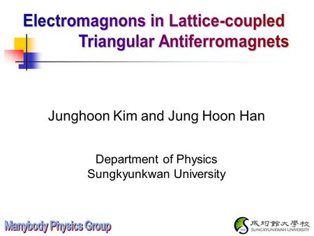 Junghoon Kim and Jung Hoon Han Department of Physics Sungkyunkwan University.