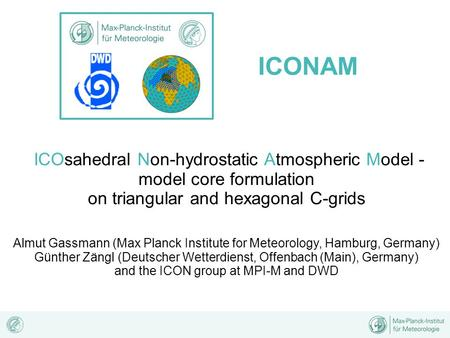 ICONAM ICOsahedral Non-hydrostatic Atmospheric Model -