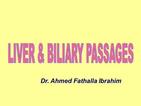 Dr. Ahmed Fathalla Ibrahim. LIVER LIVER DEFINITION: It is the largest gland in the body SURFACE ANATOMY: It occupies the whole right hypochondrium, a.