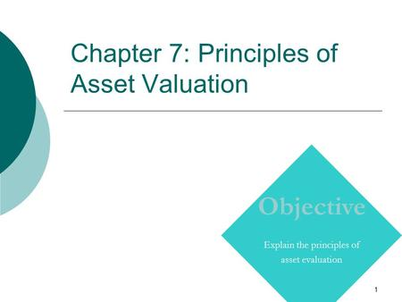 1 Chapter 7: Principles of Asset Valuation Copyright © Prentice Hall Inc. 2000. Author: Nick Bagley, bdellaSoft, Inc. Objective Explain the principles.