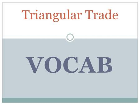 VOCAB Triangular Trade. Abolitionist, admiralty courts, bond, custom officers, duty, export, import, indigo. Money that must be put up in advance as a.
