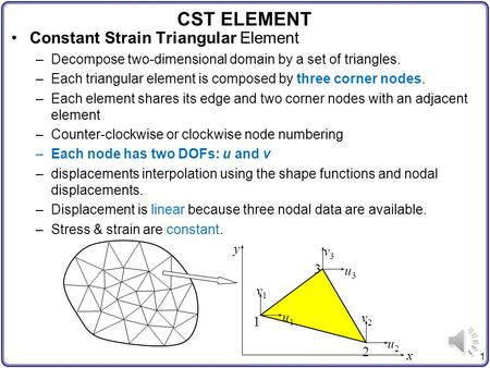 1 CST ELEMENT Constant Strain Triangular Element –Decompose two-dimensional domain by a set of triangles. –Each triangular element is composed by three.
