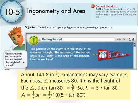 10-5 Trigonometry and Area