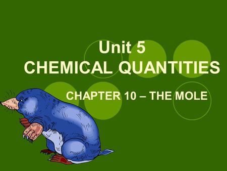 Unit 5 CHEMICAL QUANTITIES CHAPTER 10 – THE MOLE.