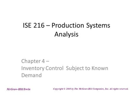 ISE 216 – Production Systems Analysis