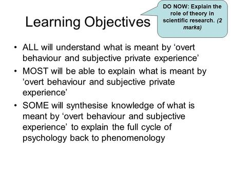 Learning Objectives ALL will understand what is meant by 'overt behaviour and subjective private experience' MOST will be able to explain what is meant.