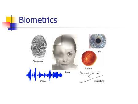 Biometrics. Topics Biometric identifier classification Biometric identifier characteristics comparison Multimodal Biometrics Biometric Standards Challenges.