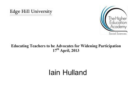 Iain Hulland. Implications for Employability: A School Perspective Iain Hulland Alder Grange C&T School and Sixth Form.