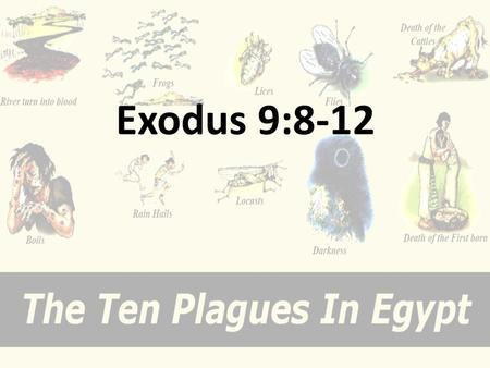 Exodus 9:8-12. Seventh Sign - Sixth Plague: Festering Boils (9:8–12) Although this sixth plague account mentions no overt verbal confrontation with Pharaoh.