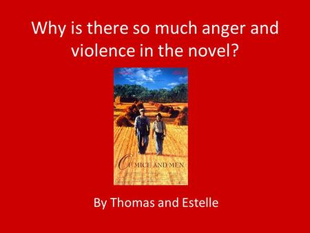 Why is there so much anger and violence in the novel? By Thomas and Estelle.