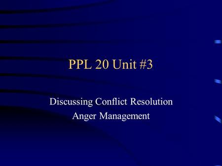 Discussing Conflict Resolution Anger Management