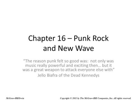 Chapter 16 – Punk Rock and New Wave