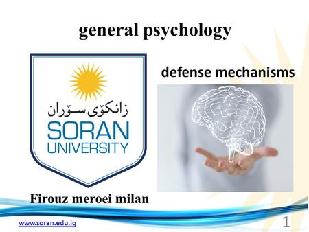 Www.soran.edu.iq general psychology Firouz meroei milan defense mechanisms 1.
