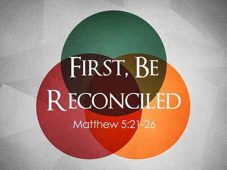 First Be Reconciled. Anger Is The Real Issue The Heart Behind The 6 th Commandment. –The command was not to just limit their options for retribution,