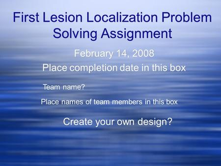 First Lesion Localization Problem Solving Assignment February 14, 2008 Place completion date in this box February 14, 2008 Place completion date in this.
