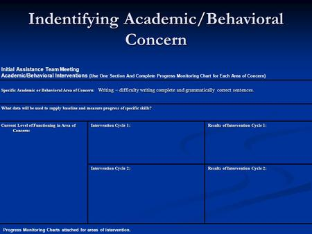 Initial Assistance Team Meeting Academic/Behavioral Interventions (Use One Section And Complete Progress Monitoring Chart for Each Area of Concern) Specific.