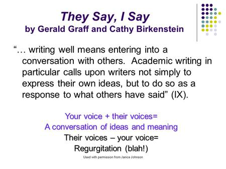 They Say, I Say by Gerald Graff and Cathy Birkenstein