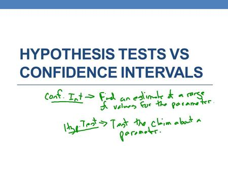 HYPOTHESIS TESTS VS CONFIDENCE INTERVALS. According to the CDC Web site, 50% of high school students have never smoked a cigarette. Mary wonders whether.