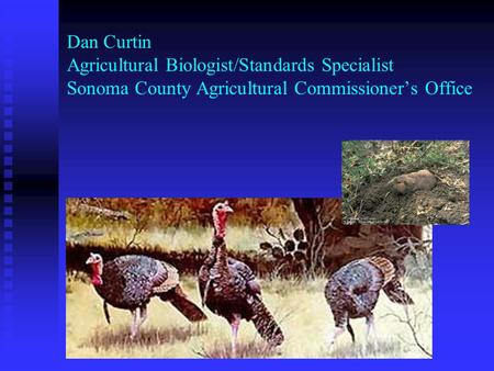 Dan Curtin Agricultural Biologist/Standards Specialist Sonoma County Agricultural Commissioner's Office.
